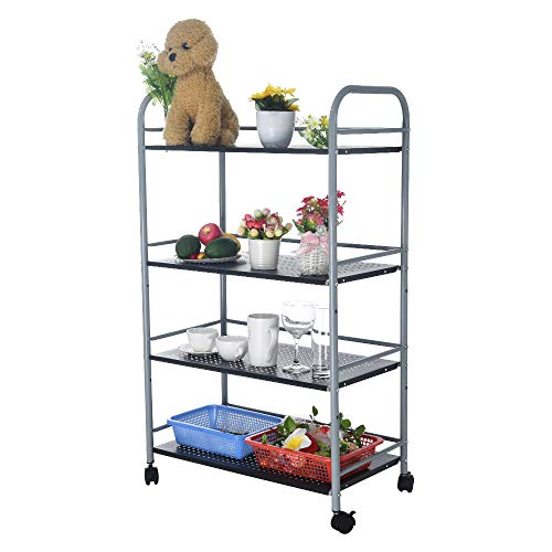 ErYao Ship from USA,4-Shelf Shelving Storage Unit Rolling Cart on Wheels, Metal Organizer Rack, Oven Holder Wheeled Trolley,Utility Trolley with Handles for Kitchen Bathroom Closet (Silver)