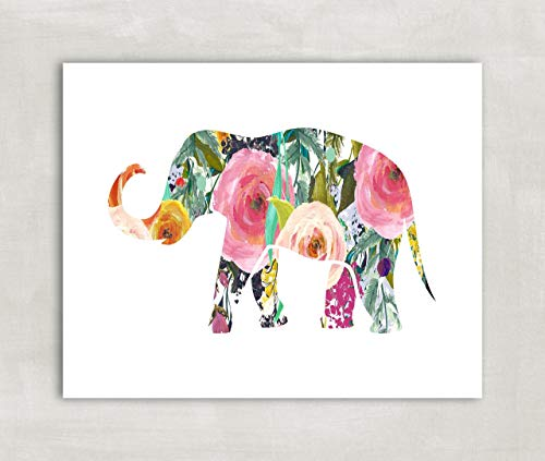 Elephant Silhouette Wall Art Print, Baby girl nursery Decor, Trunk Up Watercolor Florals 8x10 Print ((unframed))