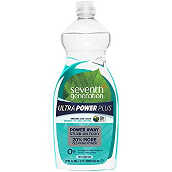 Seventh Generation Ultra Power Plus Dish Liquid Soap, Fresh Citrus Scent, 22 oz, Pack of 6 (Packaging May Vary)