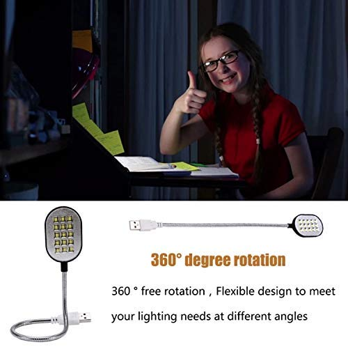 Flexible Bright Cute Mini 15 LED USB Book Light Computer Lamp Reading Lamp for Laptop Notebook Computer PC for Students Worker by GETHT (Image #1)