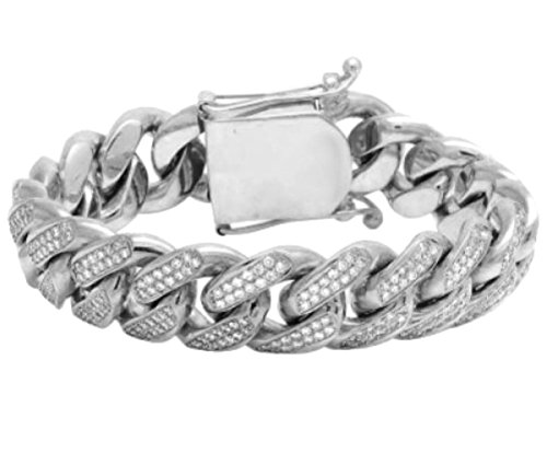 Miami Link Iced Out CZ Bracelet Mens Cuban Link Bracelet 9mm 9 Inch Silver by Midwest Jewellery