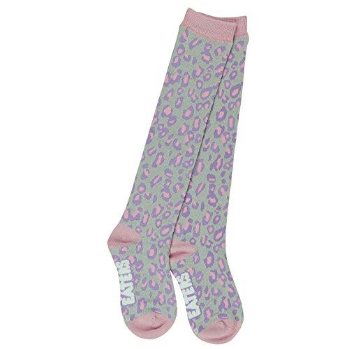 - Knee High Leopard Socks - Gray - Cute Fun Girls Womens Soccer, Lacrosse, Derby