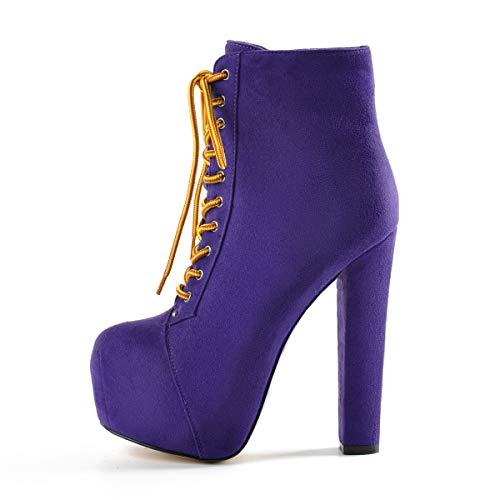 - Onlymaker Women's Platform Round Toe Short Bootie Block Chunky High Heel Lace Up Ankle Boots Purple Size 9