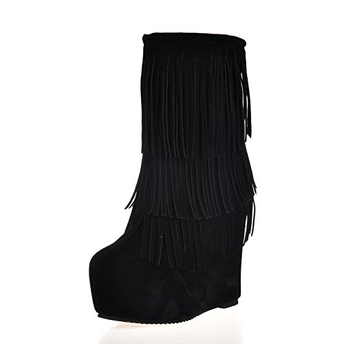 KHSKX-La Espesa Y Caliente Botas Para La Nieve El Aumento De Los Europeos Y Americanos Tassel Boots La Impermeabilizacion Tubo Medio Zapatos Black Treinta Y Seis Thirty-six