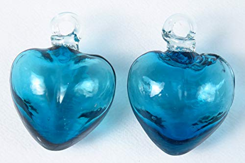 Mexican Glass Hearts Pair of Small Hearts 2 Inches Turquoise -