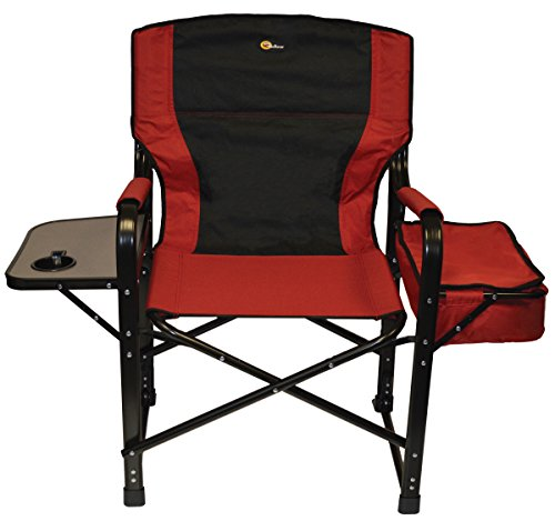 Faulkner 49582 El Capitan Folding Director Chair with Tray and Cooler Bag, Burgundy Black