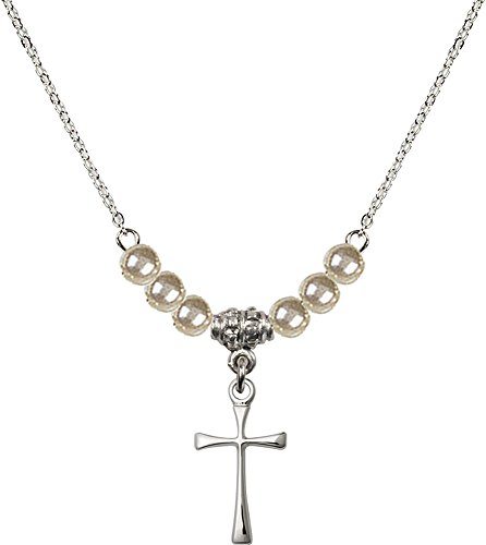 18-Inch Rhodium Plated Necklace with 4mm Faux-Pearl Beads and Sterling Silver Maltese Cross (Pearl Maltese Cross)