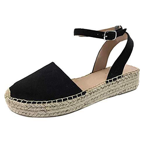Lucille Black Adult Shoes - Wouke Womens Platform Wedges Espadrilles Cap Toe Crisscross Slingback Elastic Band Summer Sandals Thick-Bottom Sandals Shoes Black