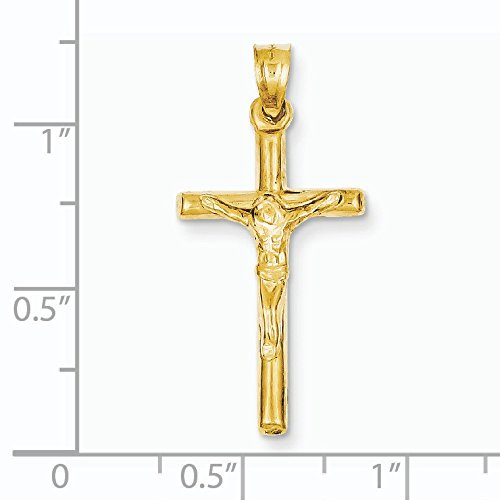 Poli 14 Carats Pendentif croix-Dimensions :  35,6 x 17 mm-JewelryWeb