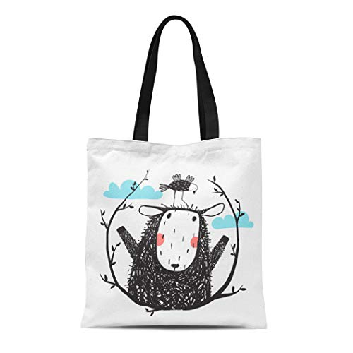 Semtomn Canvas Tote Bag Shoulder Bags Funny Sheep and Bird Portrait Laurel Cute Quirky Little Women's Handle Shoulder Tote Shopper Handbag