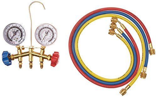 """Jb Industries GIDDS-131243 Jb Industries Brass 2-Valve Charging Manifold Assembly with 36"""" Standard Hoses"""