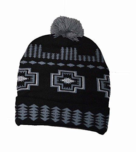 marrón a marino Hat mano Bobble azul Beanie Pattern American Hecho Native Indian RHxZ4Zz