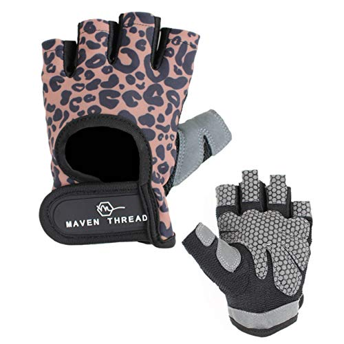 Maven Thread Women's Lightweight Stretchy Designed Workout Gloves for Weight Lifting Exercise Non Slip Fingerless…
