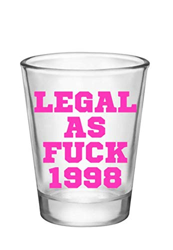 21st Birthday Shot Glass-Legal AF-1998 Shot Glass/Birthday Gifts-21 Birthday Party Supplies (clear-pink-1998)