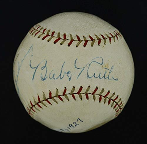 Lou Gehrig Autographed Baseball - Incredible 1927 Babe Ruth & Lou Gehrig Dual Autographed Signed Baseball PSA JSA - Authentic Memorabilia