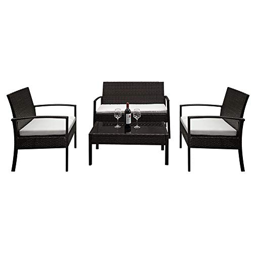 Lovinland Patio Furniture 4 Piece Rattan Outdoor Furniture Table Sofa Conversation Set with Cushion and Tempered Glass Tabletop for Pool Garden Lawn Backyard Balcony (Brown & Beige Cushion) (Patio Furniture Pool Sets)