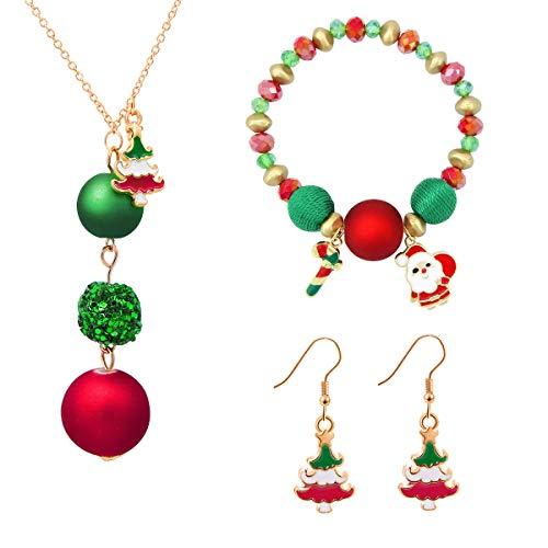 GeeVen Christmas Pendant Necklace Link Bracelet Drop Dangle Earrings Jewlry Set with Gift Box for Womens Girls Kids Snowman Jingle Bell Christmas Tree Santa Claus Antler Reindeer (Santa Claus)