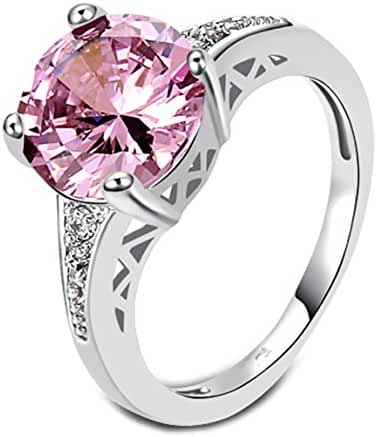 Women's Fashion Jewelry Pink Topaz Set In Sterling Silver Plated Ring Size 9