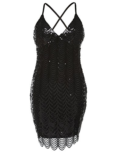 Stretchy Bandage Plunge V Kenancy Glitter Neck Sleeveless Evening Party Clubwear Cocktail Dress Women's Backless Sequin Black qqzBv4w