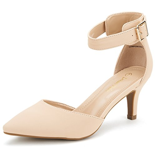 DREAM PAIRS Women's Lowpointed Nude Nubuck Low Heel Dress Pump Shoes - 8.5 M US