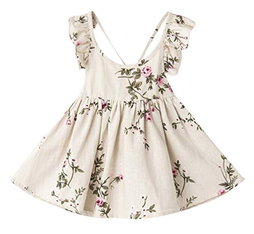 (Baby Girls Backless Spring Summer Dress A-line High Waist Sleeveless Sundress Vintage Ruffle Floral Costumes Beige, 2T)