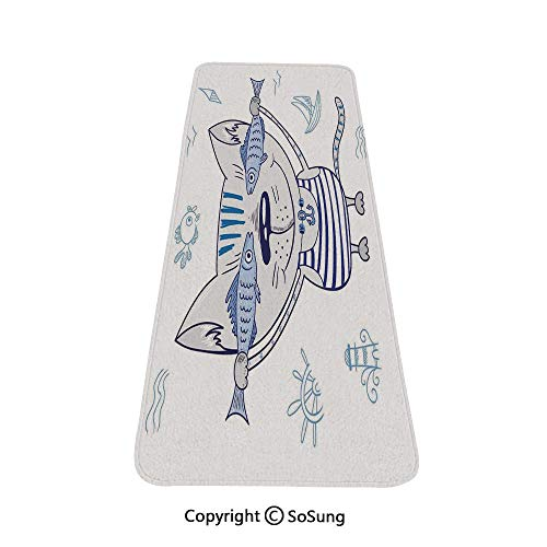 Ocean Animal Decor Rug Runner,Naughty Cat with Fish in Striped T Shirt Anchor Pendant and Nautical Sign,for Living Room Bedroom Dining Room,6'x 2',Blue Grey