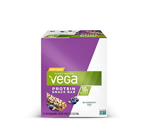Vega Protein Snack Bar Blueberry Oat (12 Count) - Plant Based Vegan protein, Non Dairy, Gluten Free, Non GMO