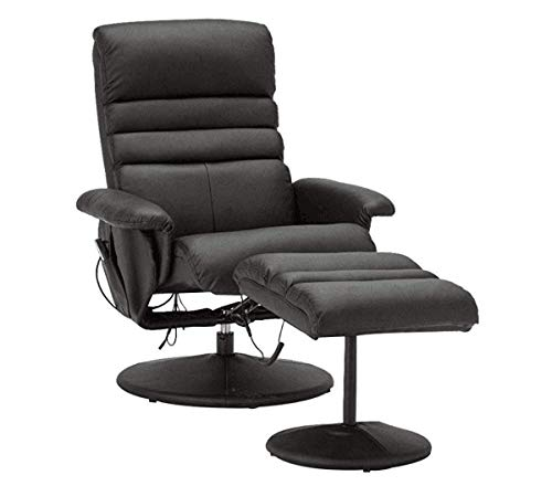 Mcombo Electric Faux Leather Massage Recliner Chair and Ottoman with Wrapped Base Remote Control, Swivel Seat 7902 (Black)