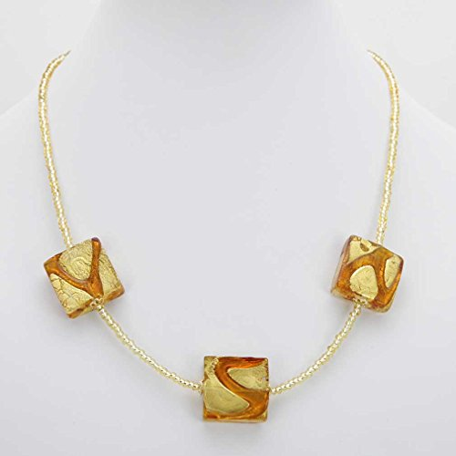 GlassOfVenice Murano Glass Royal Cognac Squares Necklace