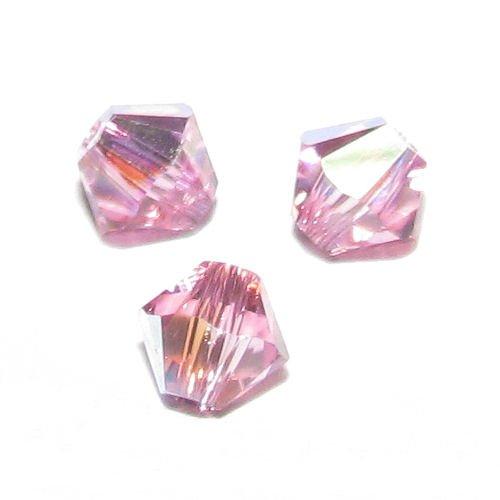 Swarovski 5301 24 Piece (72 pcs Swarovski Crystal 5328 Xilion Bicone Bead Spacer Rose Pink AB 4mm / Findings / Crystallized Element)