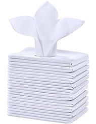 Cieltown Polyester Cloth Napkins 1-Dozen (17 x 17-Inch, white)
