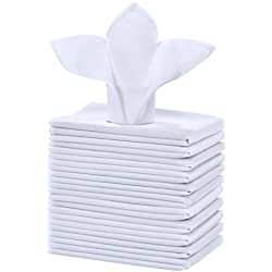 Cieltown Polyester Cloth Napkins 1-Dozen (17 x 17-Inch, white)