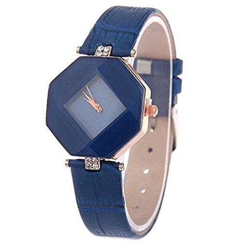 Noopvan Deal Watch, Women Fashion Octagon Rhinestone Simple Dress Quartz Wristwatch (Blue) - Octagon Blue Sapphire