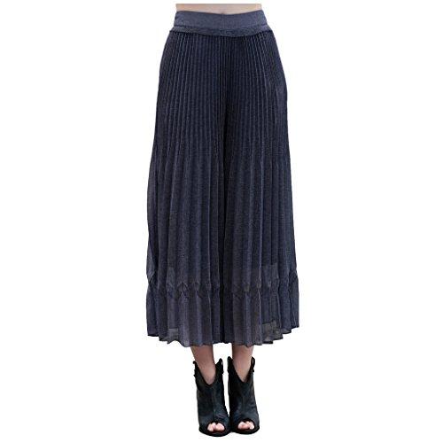 ARTOULAN Women's Summer Purple Zipper Waist Pleated Accordion Skirt Culottes by ARTOULAN