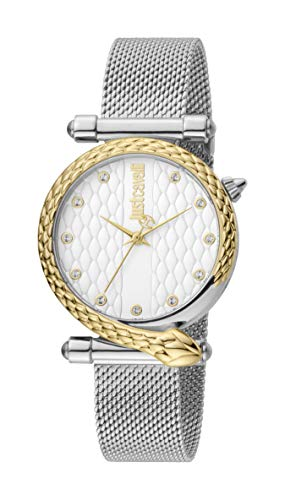 (Just Cavalli JC1L075M0085 316L Stainless Steel Mineral Crystal Deployment Buckle Watch)