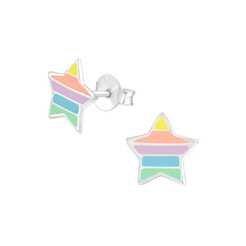 Girls Star Colorful Ear Studs 925 Sterling Silver