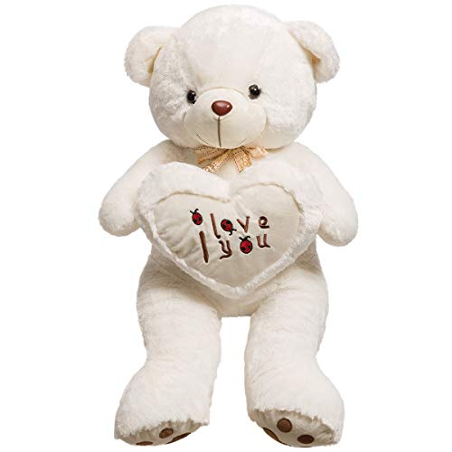 iBonny Giant Teddy Bear Holds Love Heart Pillow Stuffed Animals Plush Smile Bear Toy 32 Inch White ()