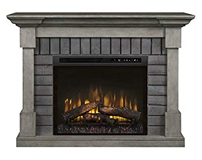 Dimplex Electric Fireplace, Media Console, TV Stand and Entertainment Center with Multiple Storage Cabinets and Natural Log Set in Smoke Stack Grey Finish - Royce #GDS28L8-1924SK