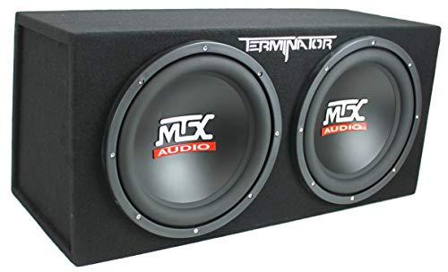 """41U2r37s6TL - MTX TNE212D 12"""" 1200W Dual Loaded Car Subwoofers + Box + Planet 1500W Amp + Kit"""