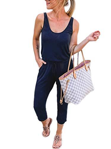 ANRABESS Spaghetti Strap Elastic Waist Drawstring Jumpsuit Romper CWXzangqing-S - Pair Earrings Fashion 5
