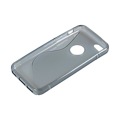 Coque en Silicone pour Apple iPhone 5c - S-Style logo gris - Cover PhoneNatic Cubierta + films de protection