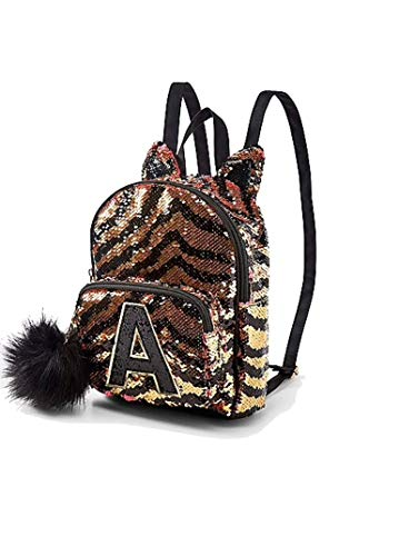 (Justice Mini Small Backpack, Flip Sequin Gold Tiger Initial (Letter J))