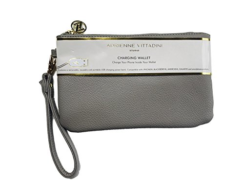 Adrienne Vittadini Charging Wallet with Detachable Strap Pewter Grey Pebble - Adrienne Vittadini Purse