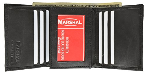 Hidden Pocket Wallet (Marshal Wallet Leather Men's Trifold Center Flap Wallet Hidden Pocket (Black))