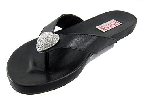 Dolce Women's Tease Toe Post Flat Sandal, Black 8 W