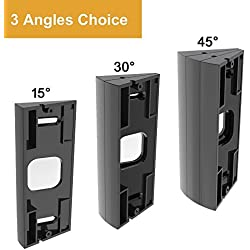 CAVN 3-Pack Adjustable ( 15 to 45 Degree ) Ring Video Doorbell Pro Angle Mount, Premium Quality Corner Kit Angle Adjustment Adapter Mounting Plate Bracket Wedge Kit for Ring Video Doorbell Pro (More angle choices), Black
