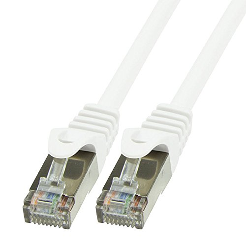 BIGtec 0,25m Netzwerkkabel Patchkabel Ethernet LAN DSL Patch Kabel Gigabit weiß (2X RJ-45 Anschluß, CAT5e, geschirmt FTP) 0,25 Meter