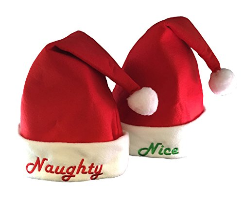 Kovot Nice & Naughty Embroidered Santa Hat Set - 2 Hats Included (Felt)