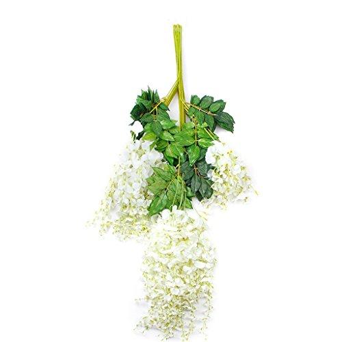 Adeeing 12x Artificial Flower Wisteria Garden Hanging Vine Wedding Decor (White)