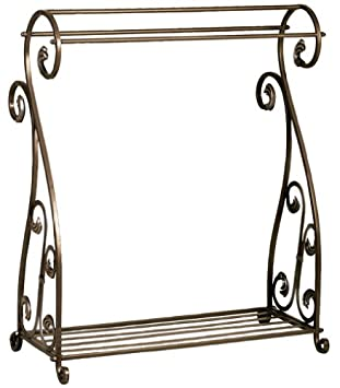 Amazon.com: Aged Bronze Scrolled Metal Quilt Rack with Shelf ... : metal quilt rack - Adamdwight.com